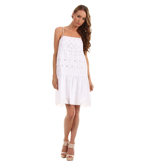 Rochii Tibi - Eyelet Embroidery On Cotton Voile Strappy Dress - White