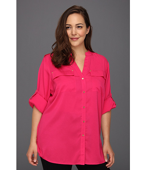 Camasi Calvin Klein - Plus Size Mock Neck Roll Sleeve Blouse - Hibiscus