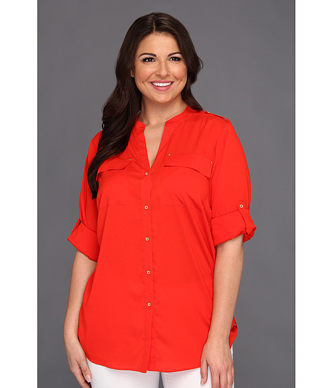 Camasi Calvin Klein - Plus Size Mock Neck Roll Sleeve Blouse - Tango Red