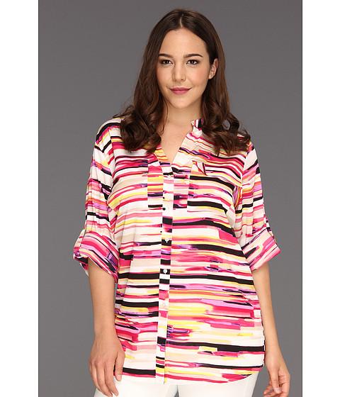 Tricouri Calvin Klein - Plus Size Painterly Stripes Print Crew Roll Sleeve - Black/Hibiscus Multi