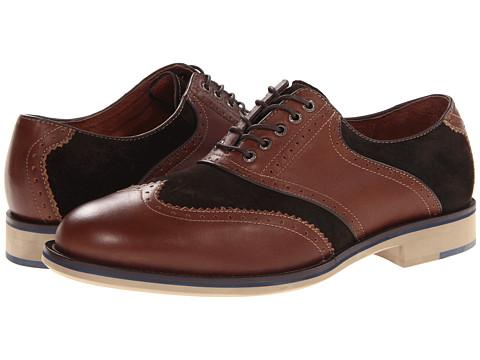Pantofi Johnston & Murphy - Ellington Wing Tip - Brown Burnished Full Grain/Espresso Suede