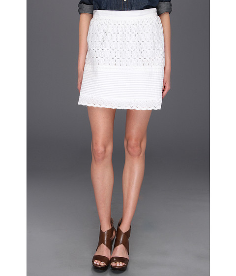 Fuste Lucky Brand - Prairie Tiered Eyelet Skirt - White
