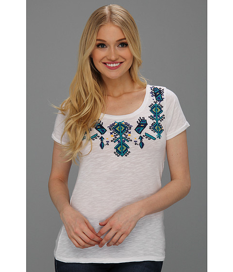 Bluze Lucky Brand - Aztec Embroidered S/S Tee - Lucky White