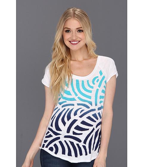 Bluze Lucky Brand - Evonne Dip Dye Applique S/S Tee - Blue/White