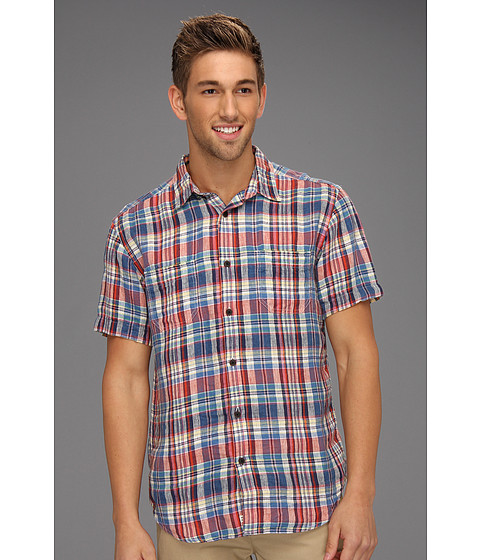 Camasi Lucky Brand - Acoustic Plaid L/S Linen Shirt - Blue/Red