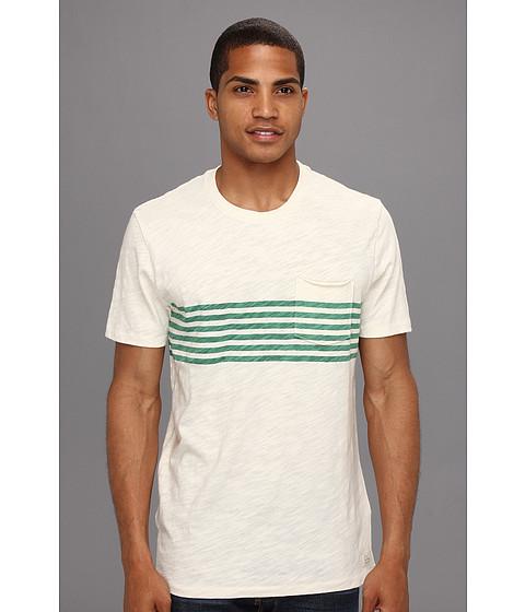 Tricouri Lucky Brand - Chest Stripe Pocket Crew - Stone White/Pine Green