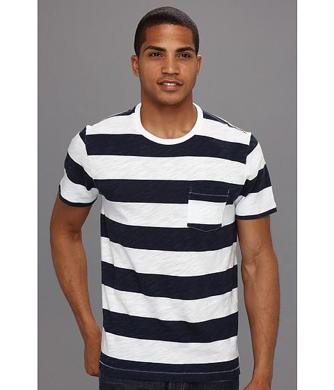 Tricouri Lucky Brand - Printed Stripe S/S Crew - Lucky White/Mood Indigo