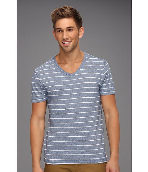 Tricouri Lucky Brand - YD Stripe V Neck Tee - Sodalite Blue/Stone White