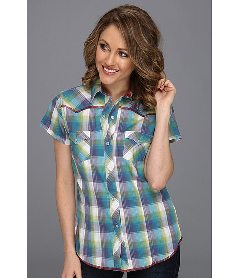 Camasi Roper - 8502 Blue Feather Plaid - Blue