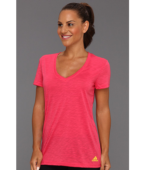 Tricouri adidas - Boyfriend Double V-Neck Tee - Blaze Pink/Vivid Yellow
