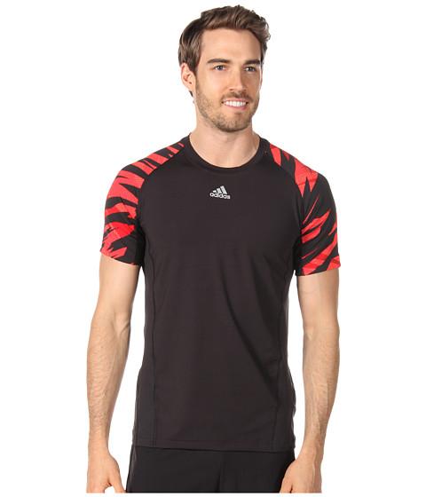 Tricouri adidas - techfitâ⢠Fitted Short-Sleeve - Camo - Black/Light Scarlet/Infrared/University Red