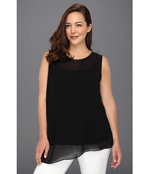 Tricouri DKNY - Plus Size Sleeveless Asymmetrical Top w/ Faux Leather Binding at Neckline - Black/Ivory