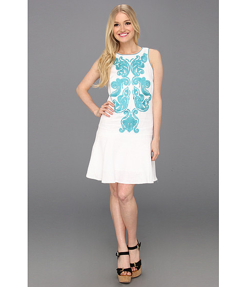 Rochii Donna Morgan - Embroidered Front Dropped Torso Dress With Hem Flounce - White/Teal