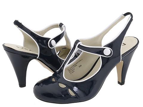 Pantofi MIA - Michelle - Navy Patent/White Piping