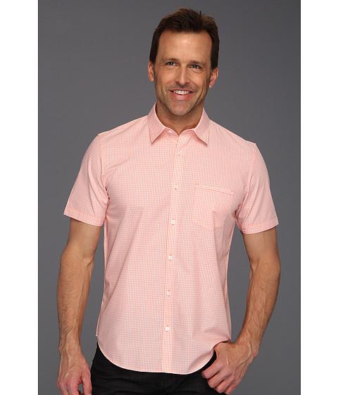 Tricouri Calvin Klein - S/S Yarn Dyed Windowpane Corded Dobby Shirt - Papaya Punch