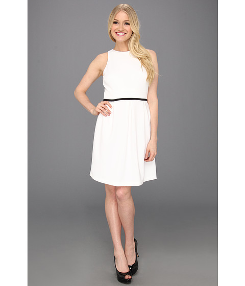 Rochii Donna Morgan - Set In Waist Dress w/ Full Skirt and Combo Stripe at Waist - White/Black