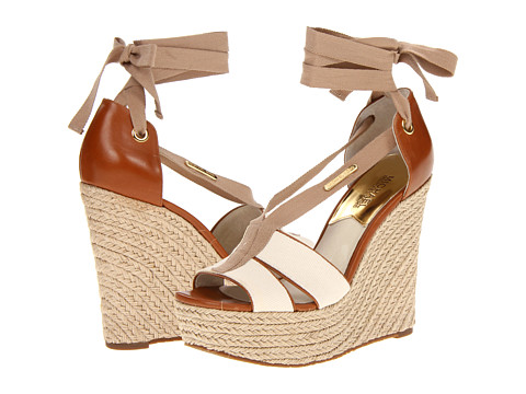 Sandale Michael Kors - Las Rosas Wedge - Ecru Small Weave Canvas/Vachetta