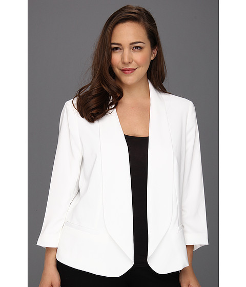 Sacouri DKNY - Plus Size 3/4 Sleeve Shawl Collar Open Front Jacket - Classic White