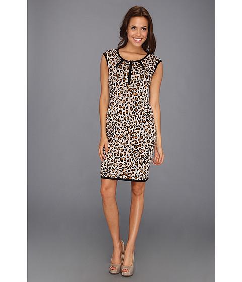 Rochii Calvin Klein - Cap Sleeve Animal Print Knit Dress - Khaki Multi