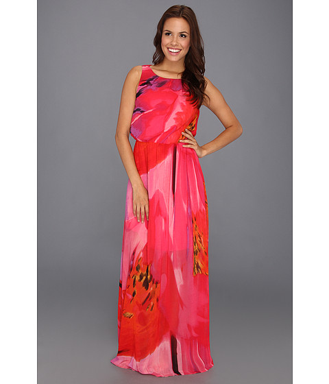 Rochii Vince Camuto - Watercolor Printed Maxi Dress with Draped Back - Coral
