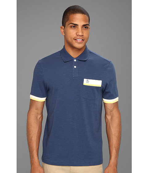 Tricouri Original Penguin - Classic Fit Color Block Polo w/ Pocket - Dark Denim