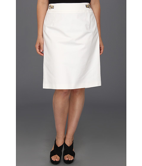 Fuste Calvin Klein - Plus Size Pencil Skirt w/ Hardware - Soft White