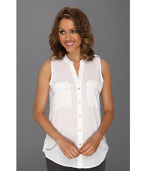 Tricouri Calvin Klein - Mock Neck S/L Blouse - Soft White