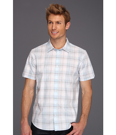 Tricouri Calvin Klein - S/S Yarn Dyed Large Heather Plaid Dobby Shirt - Blue Patch