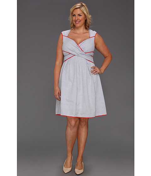 Rochii Jessica Simpson - Plus Size Cross Front Full Skirt Dress - Blue/White Seersucker with Coral