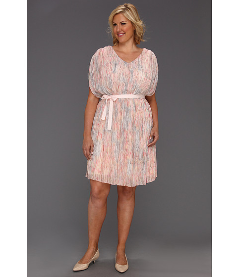 Rochii Jessica Simpson - Plus Size V Neck Gathered Drape Dress - Apricot Wash
