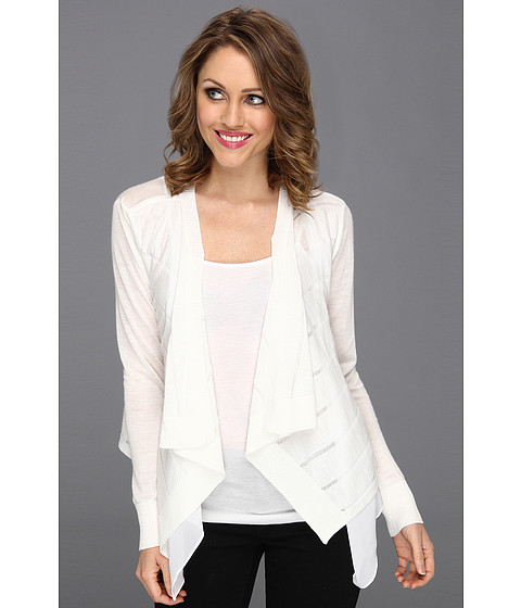 Bluze DKNY - L/S Cozy w/ Double Front Layer - Classic White