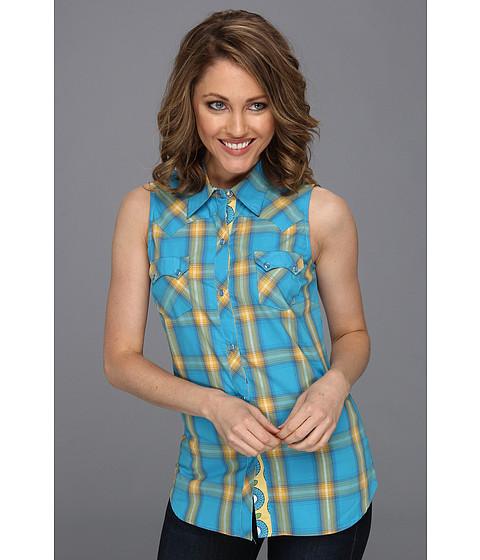 Bluze Roper - 8451 Bright Ombre Plaid Slvls Shirt - Blue