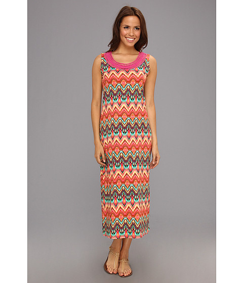 Rochii Jones New York - Tank Dress with Crochet/Lace Neck - Hot Pink Multi