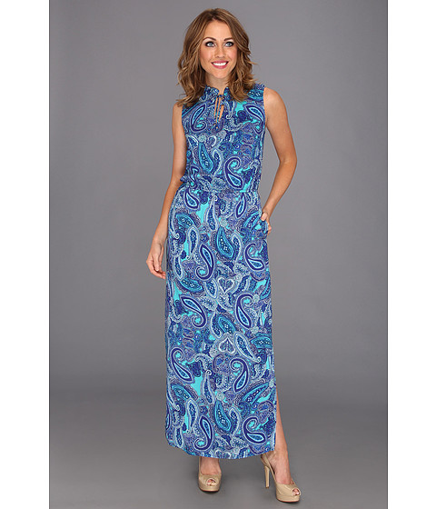 "Rochii Jones New York - V-Neck Ruffle Maxi 55"" - Capri Blue Combo"