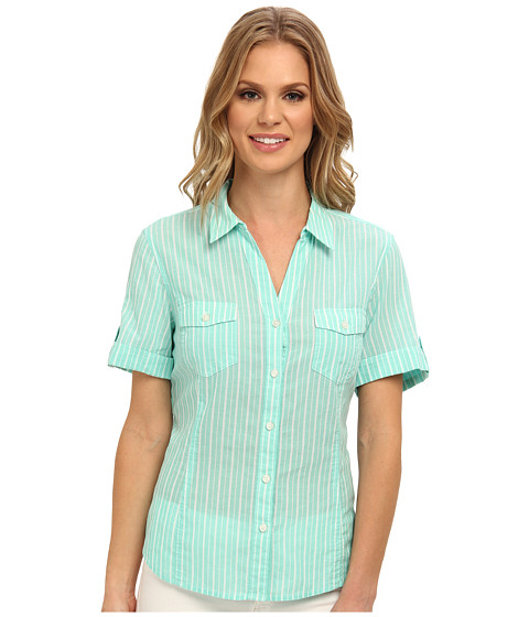 Bluze Jones New York - Short Sleeve Camp Shirt - Aquamarine/White