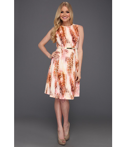 Rochii Calvin Klein - Snakeskin Print Fit and Flare Dress - Hibiscus Multi