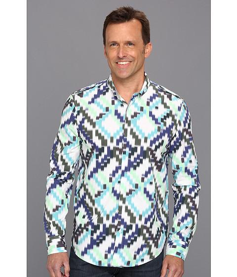Tricouri Calvin Klein - Diagonal Ikat L/S Shirt - Blue Mountain
