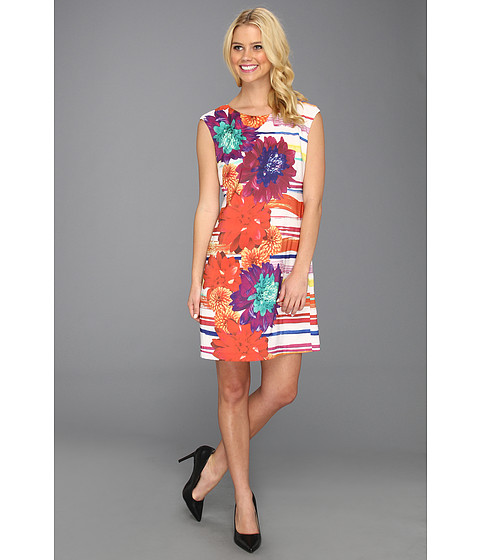 Rochii Donna Morgan - Placement T-Body Dress W/Back Twist Detail - Mango Tango Multi