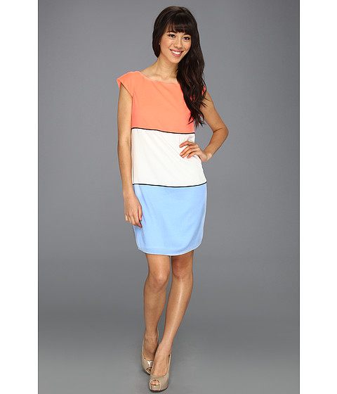 Rochii Jessica Simpson - Cap Sleeve Color Block Dress w/ Piping and Exposed Zipper - Coral