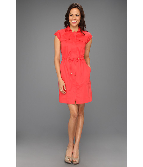 Rochii Ellen Tracy - Anorak Shirtdress With Gold Hardware - Hot Coral
