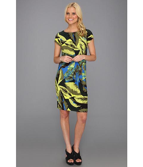 Rochii Ellen Tracy - Leaf Print Short Sleeve Jersey Dress - Blue Leaf Print