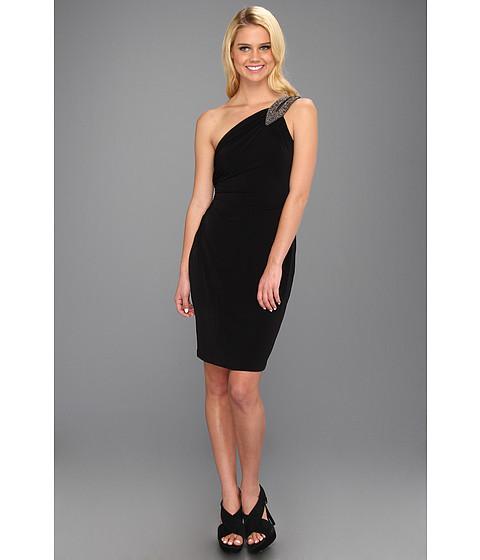 Rochii Calvin Klein - Beaded One-Shoulder Jersey Dress - Black