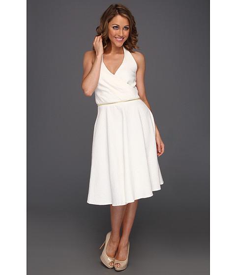 Rochii Calvin Klein - Surplice Jacquard Dress With Zip Accent - Ivory