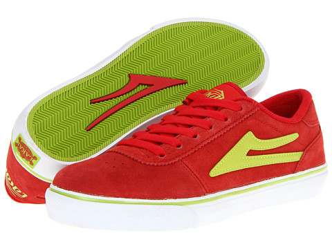 Adidasi Lakai - Manchester Select (Little Kid/Big Kid) - Red/Lime Suede