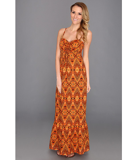 Rochii Anne Klein New York - Ikat Print Maxi Dress - Saffron Multi