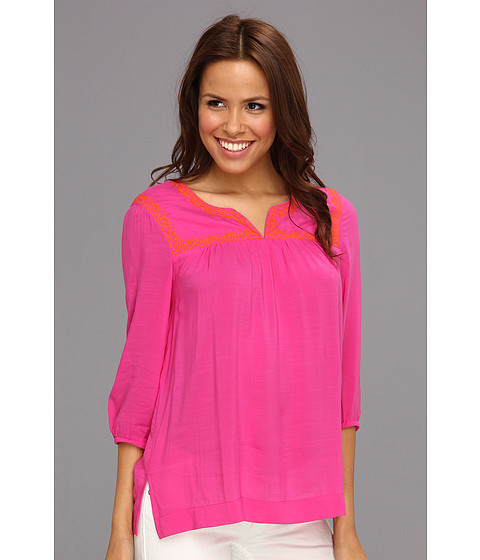 Tricouri Jones New York - Embroidered 3/4 Sleeve Tunic - Hot Pink