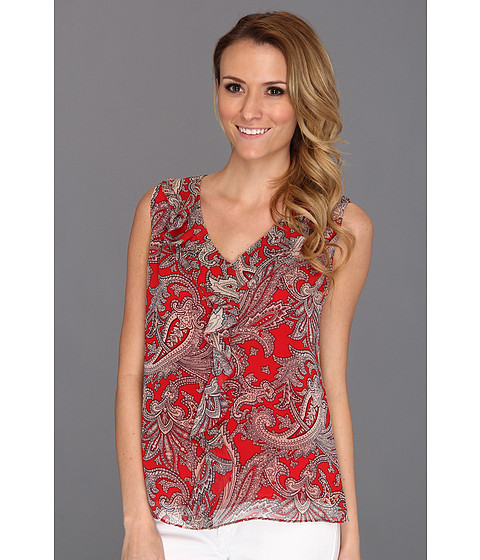 Tricouri Jones New York - Sleeveless Ruffle Front Blouse - Poppy Red Multi