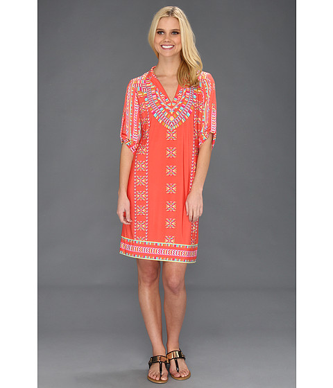 Rochii Donna Morgan - Split Neck Sheath With Tab Sleeves - Tangerine Sorbet Multi
