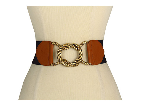 Curele LAUREN Ralph Lauren - Stretch Belt with Rope Textured Interlock Buckle - Navy/Tan