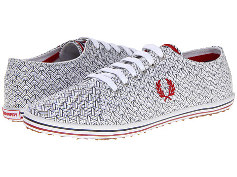 Adidasi Fred Perry - Kingston Pique Print - White/Winter Red/Carbon Blue